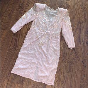 AJ Bari Silk Beaded Dress